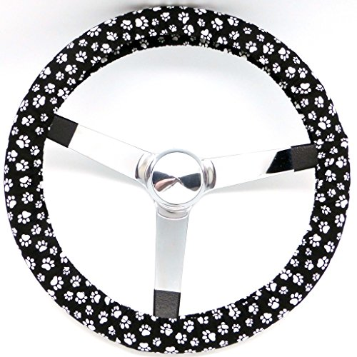 Mana Trading Handmade Steering Wheel Cover Black and White Paws