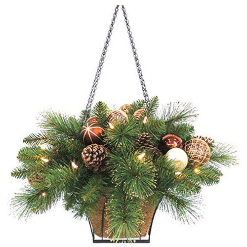 Holiday Wonderland Equinox 2 CHC-HB-14PW Artificial Hanging Basket with Copper, Chocolate and Pearl Ornament Balls and Pine Cones, 23-Inch, Cappuccino (Hanging Copper Baskets)