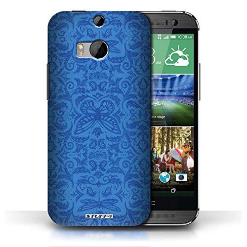 Etui / Coque pour HTC One/1 M8 / Bleu conception / Collection de Motif médaillon