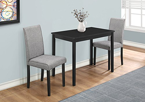 Monarch Specialties I 1016, Dining Set Set, Parson Chairs, Black/Grey, 3pcs