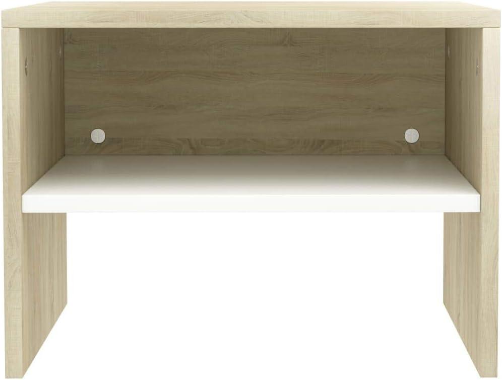 Table de Chevet Scandinaves Tidyard Table de Nuit 1 pc Table de Nuit Moderne 40 x 30 x 40 cm Agglom/ér/é Blanc et Sonoma