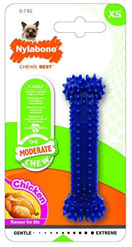 Nylabone FlexiChew Petite Chicken and Original Flavored Bone Dog Chew Toys, Twin Pack