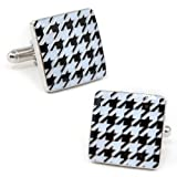 Ox and Bull White and Black Enamel Houndstooth Cufflinks (OB-HND-SL-3)