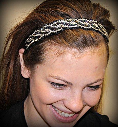 ALEXIA -Regalia Beaded Rhinestone Stretch No Slip Headband (Hair Jewelry)
