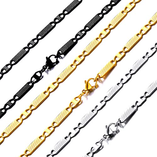 ChainsHouse Flat Mariner Chain 5mm Stainless Steel Link Necklace for Men Women, Wear Alone or with Pedant, 20 Inch