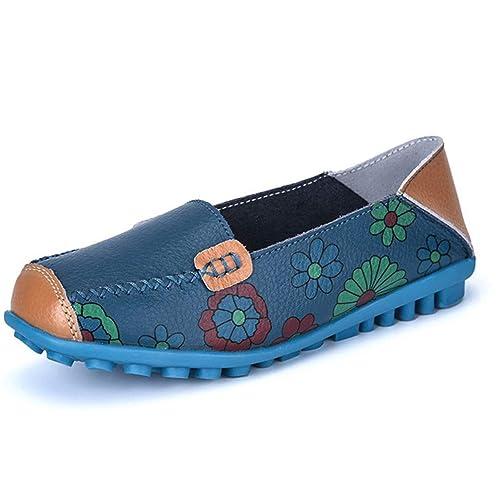 d092ad64e4f89 Amazon.com   JOYBI Women Flats Loafers Comfortable Print Leather ...
