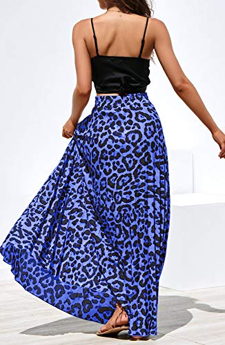 Maxi Skirt Leopard Print Chiffon Beach A-Line Long Skirts