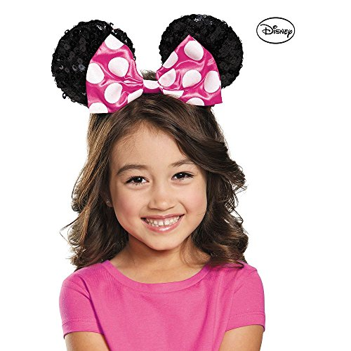 [Disguise Costumes Pink Minnie Sequin Ears, Girls] (Minnie Mouse Ears Halloween Costume)
