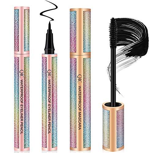 4D Silk Fiber Lash Mascara & Eyeliner Waterproof Eye Makeup - Lengthening Thickening Eyelashes, Voluminous Extension Cream, Long Lasting Smudge-proof Liquid Eye Liner, Natural Non-Toxic Hypoallergenic