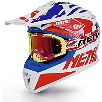 NENKI Helmets NK-316 Motocross Helmets Combo Dot Approved with NK-1023 Motocross Goggle (M, Blue Red)