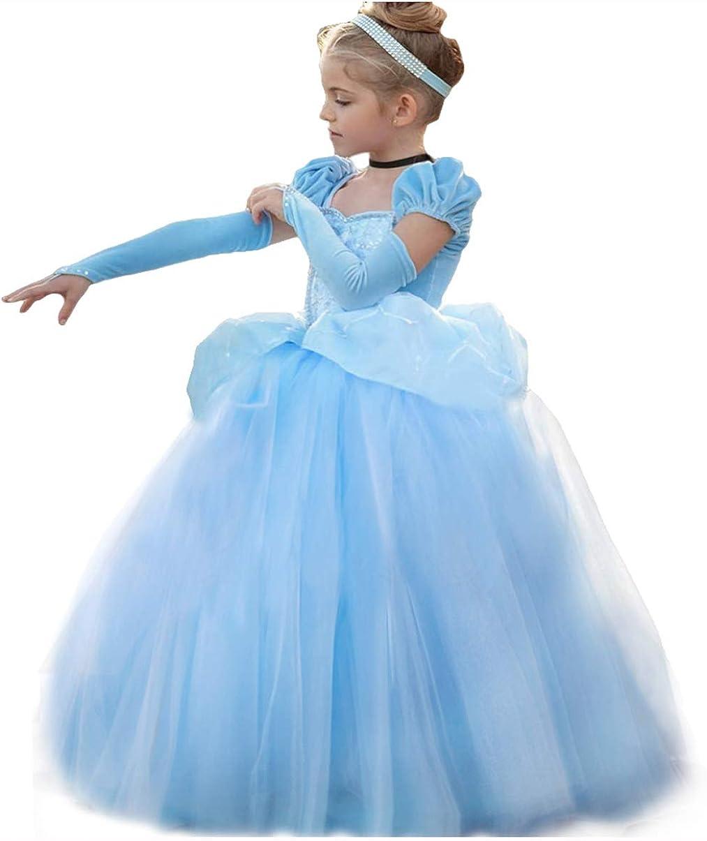 Kids Girl Cinderella Costume Princess Dress Halloween Cosplay dress Xmas Gift