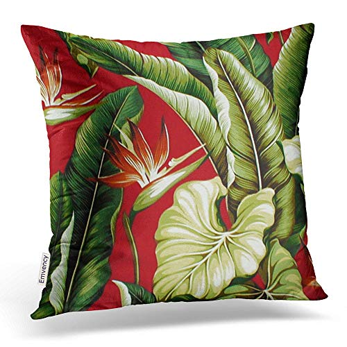 (Emvency Throw Pillow Covers Barkcloth Tropical Floral Red Green Decor Pillowcases Polyester 20 X 20 Inch Square with Hidden Zipper Home Sofa Cushion Decorative Pillowcase ¡­)