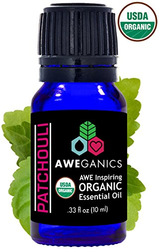 Aweganics Pure Patchouli Oil USDA Organic Essential Oils, 100% Pure Natural Premium Therapeutic Grade, Best Aromatherapy Scented-Oils for Diffuser, Home, Office, Personal Use - 10 ML - MSRP (Aromatherapy Cologne)