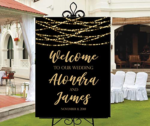 Dozili Wedding Welcome Sign Printable Black with Gold