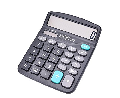 Calculator, Ubidda Standard Function Electronics Desktop Calculators, Solar and Battery Dual Power, Big Button 12 Digit Large LCD Display, Handheld for Daily and Basic Office, Black