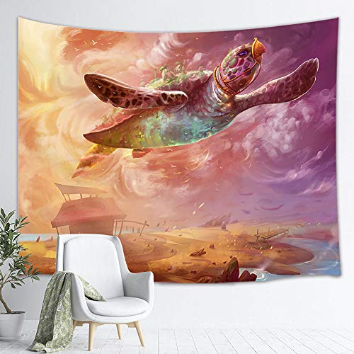 - NYMB Sea Turtle Tapestry, Fantasy Giant Ocean Animals on Mystic Air Flying Tapestry Wall Hanging, Tapestry Wall Blanket Bedroom Living Room Dorm TV Backdrop, Beach Blanket 71X60 in