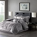 Madison Park MP10-2373 Carlow 7 Piece Comforter Set, Queen, Grey