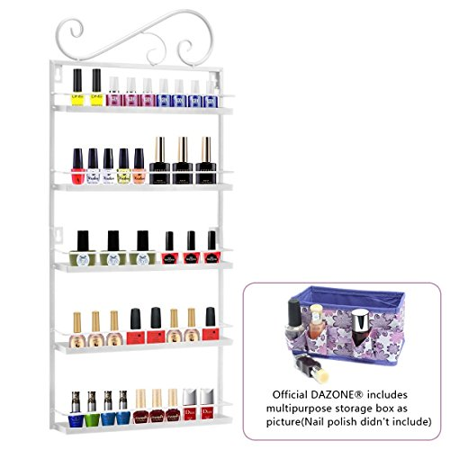 Price comparison product image Dazone DIY Mounted 5 Shelf Nail Polish Wall Rack Organizer Holds 50 Bottles Nail Polish or Essential Oils (Bronze 5 tier)