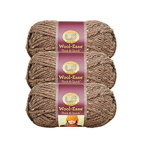 - (3 Pack) Lion Brand Yarn 640-124J Wool-Ease Thick and Quick Yarn, 97 Meters, Barley