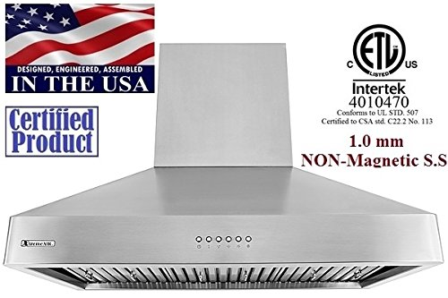 XtremeAir LED Lights, W DL08-W36 USA Deluxe Series Wall Mount Range Hood with Baffle Filters/Grease Drain Tunnel, 36
