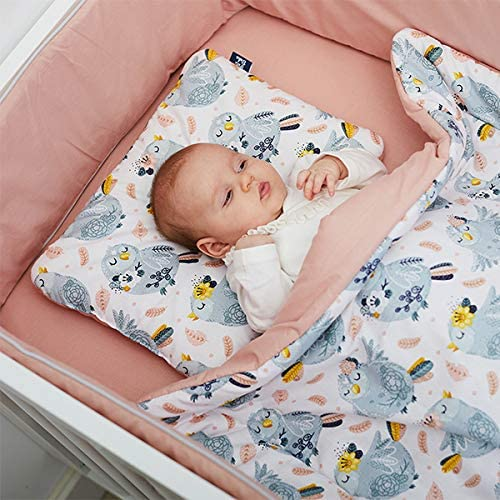 Birds Bedding Quilt with Filling Bed Bumper 120x60 Handmade 100/% Cotton Soft and Cozy High Quality Peti Bebe Newborn 3in1 Set Bed Pillow