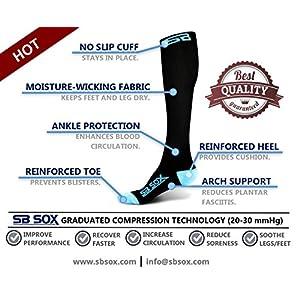 SB SOX Compression Socks (20-30mmHg) for Men & Women - BEST Socks for Running, Medical, Athletic, Varicose Veins, Travel, Pregnancy, Shin Splints, Nursing. (Black/Blue, Medium)