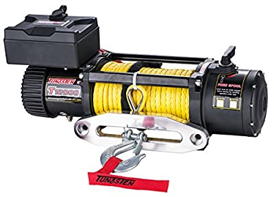 Tungsten4x4 T12000S Offroad 12000 lbs Load Capacity 6.5Hp 12V Electric Winch with Synthetic Rope, Hawse Fairlead and Wireless Remote