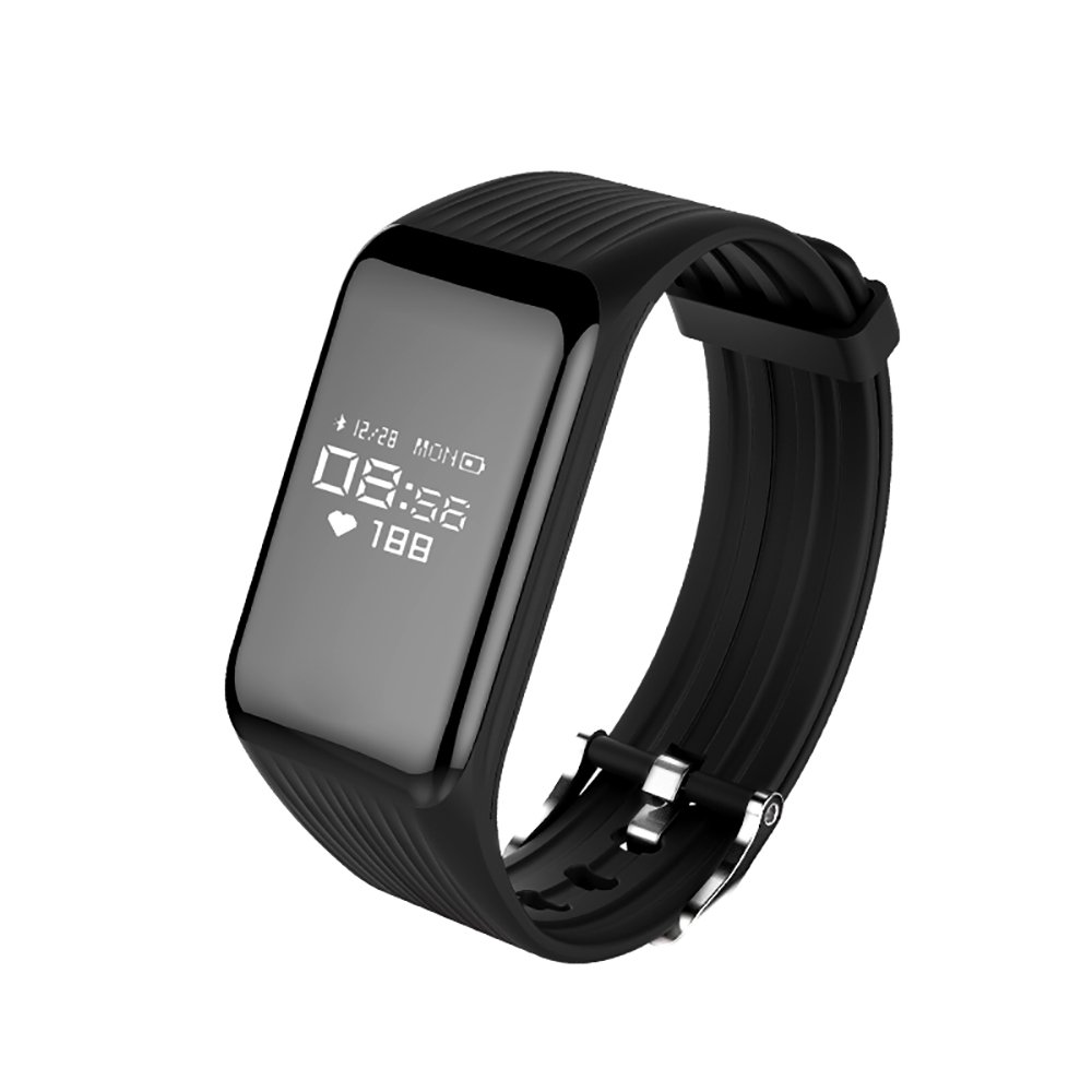 Smart Bracelet IP67 Waterproof Fitness Tracker Heart Rate Monitor Calorie Pedometer Health Smartwatch Bluetooth Wristband with Sleep Monitor Calls Reminder for Android IOS phone by Xintaichang(Black)