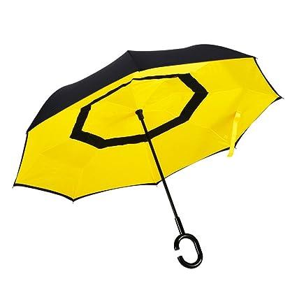 HOMEE Paraguas reversible creativo lluvia y paraguas doble coche hombre hombre de negocios mango largo paraguas