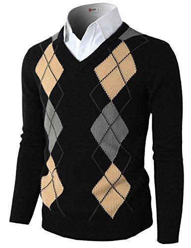 Argyle Vest (H2H Mens Casual Slim Fit Pullover Argyle Pattern Long Sleeve Sweater Black US S/Asia M (CMOSWL013))