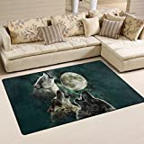 Naanle Animal Area Rug 3'x5', Wolf Howling to the Full Moon Polyester Area Rug Mat for Living Dining Dorm Room Bedroom Home Decorative