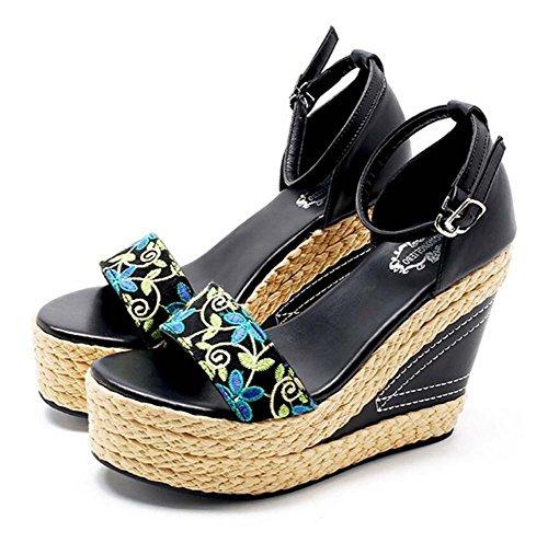 con spesso fibbia da nero montagna pendenti 34 piatta da Zeppa donna con fondo 40 sandali SHINIK misura con Nero a pX6q7wv