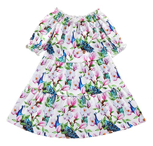 YOUNGER TREE Toddler Baby Girls Dress Outfits Peacock Print Valentine's Day Princess Party Tutu Skirt Ruffle Dresses Clothes (Pink, 1-2 Years) ()