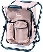 One Savvy Girl Ultralight Backpack Cooler Chair - Compact Lightweight and Portable Folding Stool - Perfect for