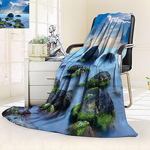 - Sky Blue Blanket Spa Custom by Nalohomeqq Sea Stones and Mystic Seaside Caribbean Photo Print Microfiber Fabric Blanket Hypoallergenic Printed Fleece Blanket Slate Grey Sky Blue Cyan White