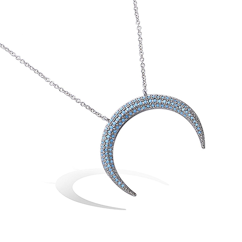 Halskette aus Sterling-Silber 925/000 rhodiniert – Anhänger Mond ...