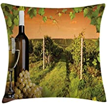Ambesonne Winery Throw Pillow Cushion Cover, Bottle and Glass of Wine and Vineyards of Sunset Countryside Romantic Evening View, Decorative Square Accent Pillow Case, 28 X 28 Inches, Green Orange
