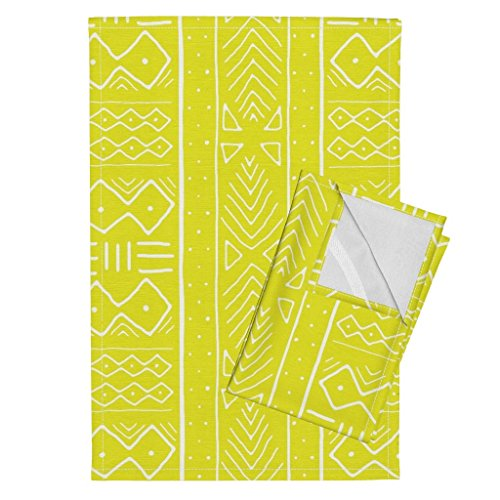 Roostery African Afrocentric Africa African Inspired Chartreuse Green Mudcloth Tea Towels Mudcloth In Citron by Domesticate Set of 2 Linen Cotton Tea Towels