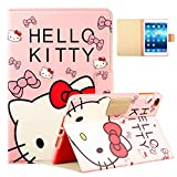 Logee Kitty Case for iPad Mini 1/2/3/4,PU Leather Cartoon Animal Cute Design Stand Wallet Folio Soft Smart Function Cover,Kawaii Fashion Fun Cool Protective Flip Cases for Kids Teens Girls(Mini1/2/3/4