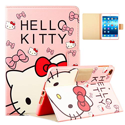 Logee Kitty Case for iPad Mini 1/2/3/4,PU Leather Cartoon Animal Cute Design Stand Wallet Folio Soft Smart Function Cover,Kawaii Fashion Fun Cool Protective Flip Cases for Kids Teens Girls(Mini1/2/3/4 -