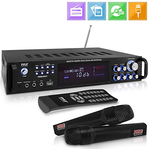 Pyle 3000W Bluetooth Hybrid Speaker-High-Powered Pre-Amplifier w/ 2 VHF Wireless Handheld Microphones, MP3/Aux/USB/SD Readers/FM Radio/Rack Mount Design w/LED Backlight PWMA3003BT