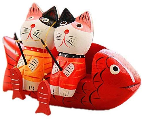 WJSW Two Fishing Cats Set Animal Sculpture Artwork Art Home covid 19 (Cat Fishing Sculpture coronavirus)