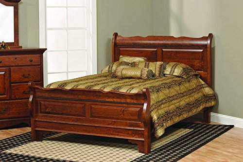 Merlot Queen Sleigh Bed - Amish Merlot Queen Solid Rustic Cherry Wood Sleigh Bed, Stained Boston