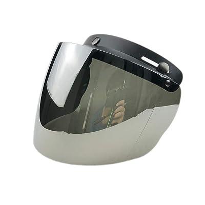 Wancar Retro Universal Standard 3-Snap Open Face Motorcycle Helmets Flip Up Face Visor Wind Shield Lens(Mirrored): Automotive