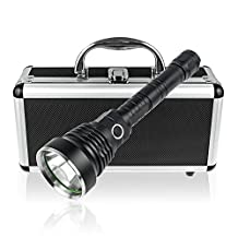 Long Shot Search Light, TurnRaise XM-L2 High Intensity LED 1200 Lumens Flashlight/ Searchlight for Hiking Hunting and More