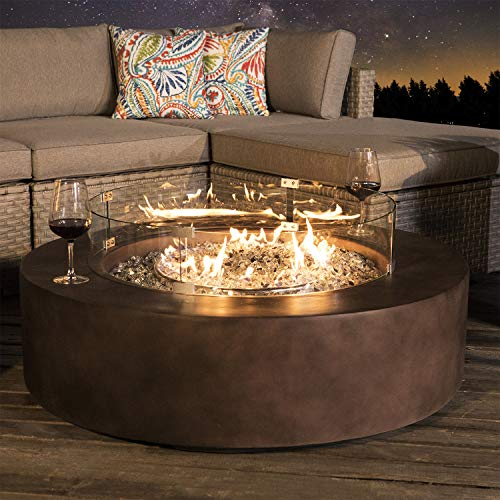 COSIEST Outdoor Propane Fire Pit Coffee Table w Dark Bronze 42-inch Round Base Patio Heater, 50,000 BTU Stainless Steel Burner, Wind Guard, Tank Outside, Free Lava Rocks, Waterproof Cover (Burners Wood Outdoor Patio)