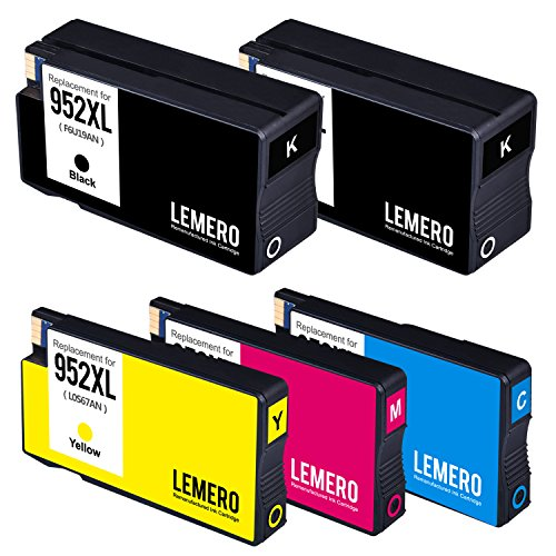 Lemero Replacement for 952XL Remanufactured Ink Cartridge ( 1 Set + 1 Black ) Compatible with Officejet pro 8210 8710 8715 8720 8725 8730 8740 series printer