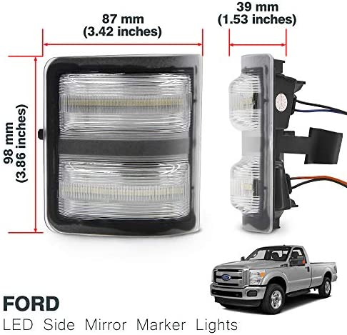 Smoked Lens 2 Amber LED Turn Signal Light iJDMTOY White//Amber LED Side Mirror Marker Lamps For 2008-16 Ford F250 F350 F450 Super Duty, White LED Parking Light