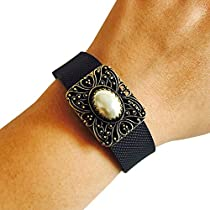 Charm to Accessorize the Fitbit Charge or Other Activity Tracker - The ELEGANCE Antique Gold and Pearl Charm to Dress Up Your Favorite Fitness Tracker (Antique Gold/Pearl, Garmin Vivofit)