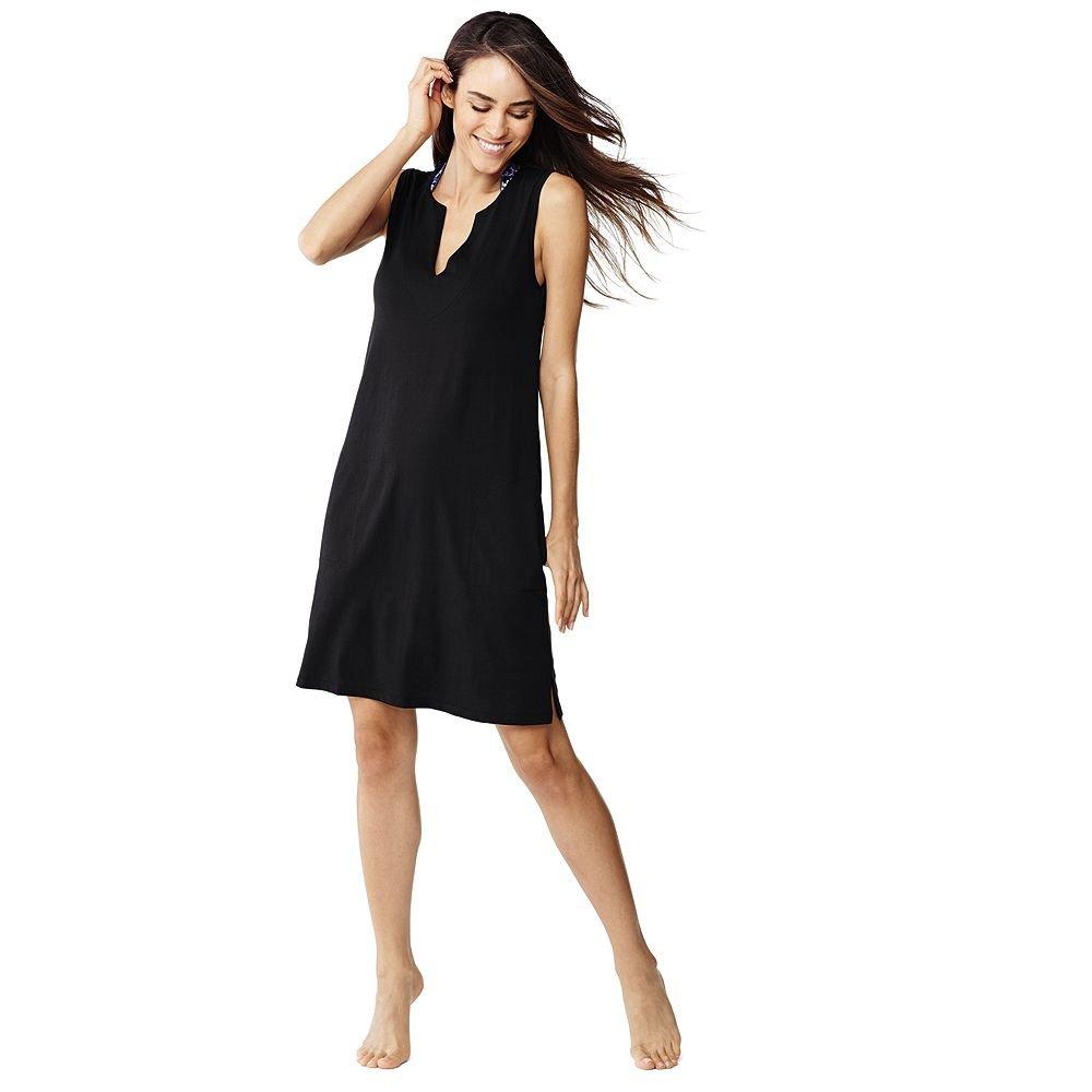 Lands' End Women's Cotton Jersey Tunic Dress Cover-up, XL, Black